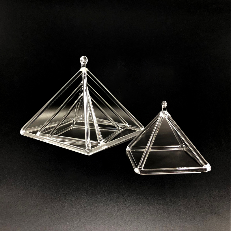 Transparent Quartz Crystal Singing Pyramid For Healing